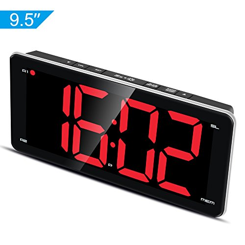 """Ultra Large Display Alarm Clock Radio, Large Number Clock, LED Digital Clock with 9.5"""" Mirror Surface Display, Stepless Dimmer, FM Radio, Dual Alarm, Snooze Function, Sleep Timer and Battery Backup"""