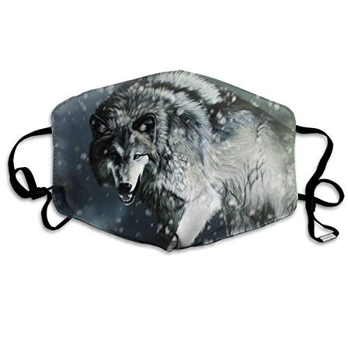 SGBTJKU Dust-Proof Breathable Mask, Unisex Fashion Mask Muffle Flu,Unisex Mouth Mask Winter Cool Wolf Graphics Polyester Anti-dust Masks Washed Reusable Face Mask for Outdoor Cycling ()