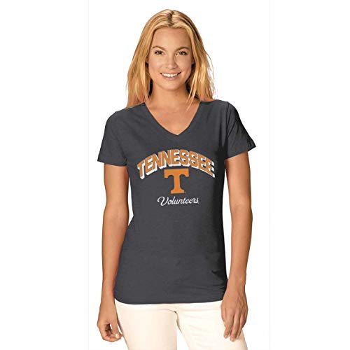 Camp David Tennessee Volunteers Womens Dedicated Fan Signature Diva V-Neck - Charcoal, Womens Extra Large