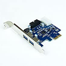 E-SDS PCI-E to USB 3.0 2 Port Express Card, with 1 USB 3.0 20-pin Connector and 5V 4 Pin Male Power Connector
