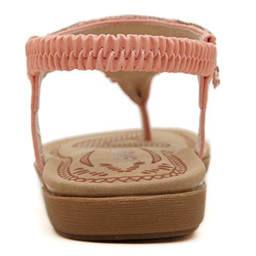 Abby W975-8 Womens Bohemian Cool Beach Glistening Rhinestones Exotic Clip Toe Fresh Casual Walking Sandals Elegant Folk Custom Style Soft Flat Sole Vogue Comfy Charm Pliable Pink Pd3z3rhH2Q