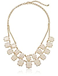"""Gold-Plated Two-Row White Resin Statement Necklace, 17.5"""""""