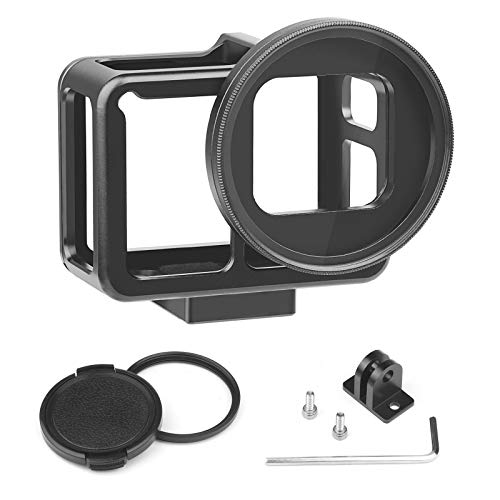 (D&F CNC Aluminum Alloy Hollow Protective Case Frame Outdoor Sport Housing Camera Shell Box Frame Mount with Backdoor and 52mm UV Filter for GoPro Hero 7 Black )
