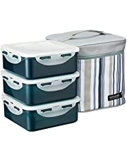 Lock & Lock Square Lunch Box 3-Piece Set with Insulated Stripe Bag