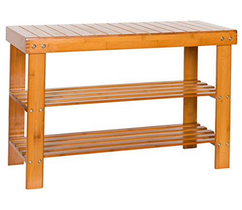 HollyHOME 2-tier Bamboo Shoe Bench Rack Shoes Shelf Holder for Entryway Shower Bench Storage Org ...