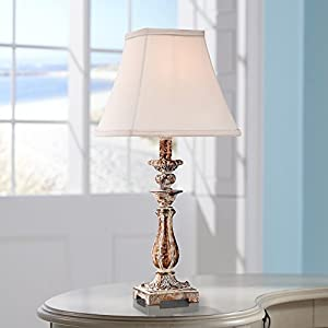 """Distressed Antique Gold 18"""" High Candlestick Table Lamp"""