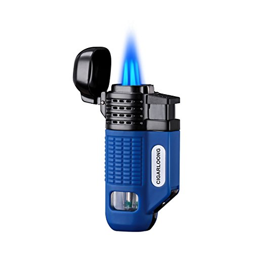 CIGARLOONG Cigar Lighter 4 Jet Torch Blue Flames Refillable Butane Torch Lighter with Cigar Punch (Color:Blue)
