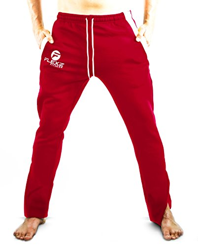 Flexz Fitness Gym Fitted Activewear Sweatpants, Bodybuilding & Lifting, Durable & Stylish, Red, Size X-Large