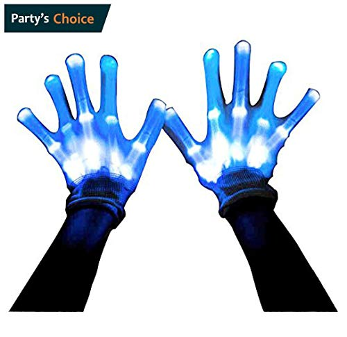 LIQING Stage Show Gloves Novelty Led Skeleton Gloves 12 Color Changeable Light Up Shows Halloween Costume -