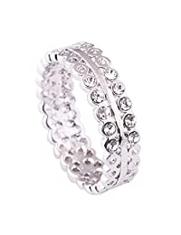 Acefeel Simplicity Style White Gold Plated Hollow Circle Clear Stone Women's Ring R119