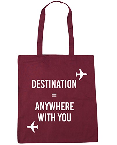 HippoWarehouse Destination Anywhere with you Tote Compras Bolsa de playa 42cm x38cm, 10litros granate