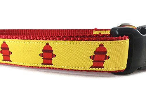 Fire Hydrant Dog Collar, Caninedesign, Yellow, 1 inch wide, adjustable, nylon, medium and large (Fire Hydrant, Large 15-22