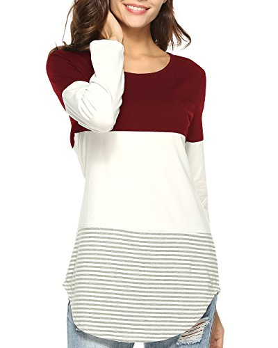 Stripe Casual Shirt (Aliex Women's Casual Long Sleeve T-Shirt Color Block Tunic Top Wine Red S)