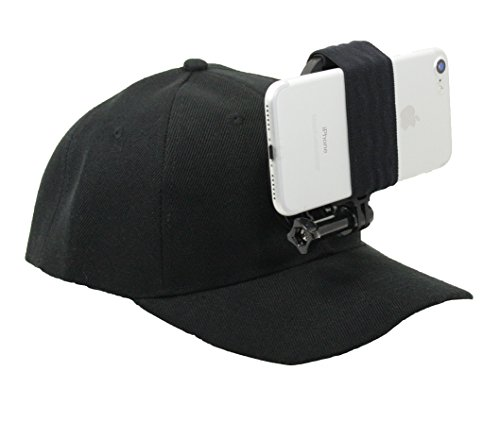 OCTO MOUNT - Baseball Hat Compatible with Smartphone/Cellphone/GoPro Camera Head Mount. Operable with Any Phone or Action Camera, Regardless of Case. iPhone, Samsung, Nokia, Google and Plus Sizes