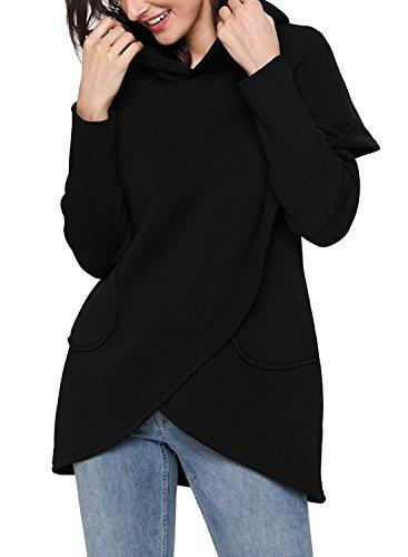 FIYOTE Women Long Sleeve Hooded Asymmetric Hem Wrap Hoodie Sweatshirt Tops Blouse Large Size Black