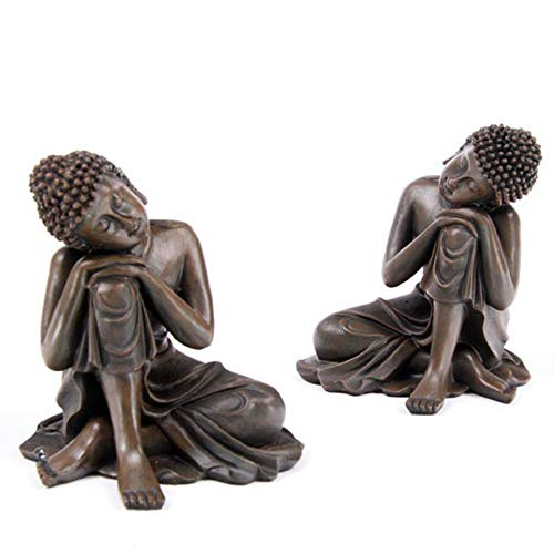 Wood Effect Buddha Head - B111 Wood Effect Seated Thai Buddha Statuette With Head Resting On Knee 14cm