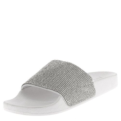 Mujer Mulas Zapato Moda Verano Deslizadores Plataforma Sandalias Ponerse Diamante Blanco XqX4U7rw