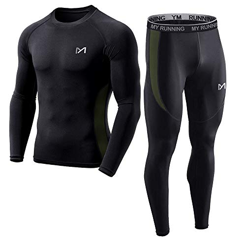 (Men's Base Layer Underwear Set, Cool Gear Quick Dry Long Sleeve Compression Shirt and Pants, Sport Fitness Long Johns (Black, X-Large))