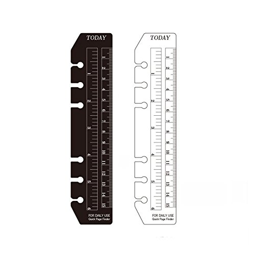 (Chris-Wang 2Pcs Black/Clear Plastic Page Marker Pouch Page Finder Measuring Today Ruler for A6 Size 6-Hole Binder Notebook)