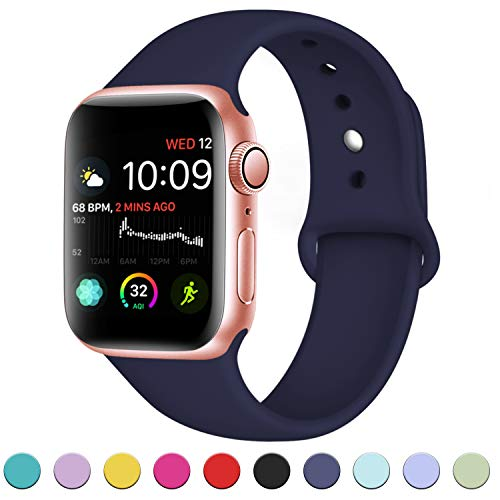 - DaQin Bands Compatible with Apple Watch Band 38mm 40mm, Soft Silicone Sport Replacement Wristbands Strap for Apple iWatch Series 4, Series 3/2/1, Dark Blue, M/L