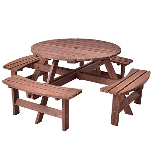 LordBee Sturdy Patio → Outdoor 8 Seat Fir Wood Picnic Dining Seat Bench Set Garden Lawn → Coffee → Conversation Table Umbrella Hole
