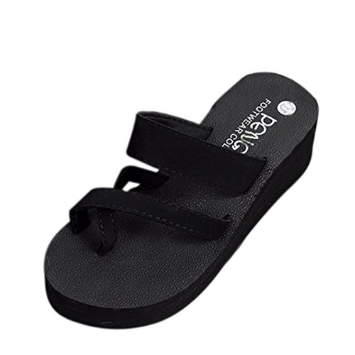 Criss Cross Wedge Sandal - SUKEQ Sexy Womens Wedge Platform Clip Toe Slip On Slide Sandal Summer Non Slipper Criss Cross Thong Sandal Flip Flop Casual Slippers Beach Wear (6 B(M) US, Black)