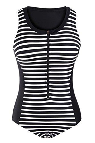 Shawhuwa Womens Sexy Striped Sleeveless Rashguard One Piece Swimsuit XXL Black