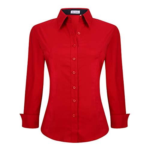 Womens Button Down Shirts Long Sleeve Cotton Stretch Work Shirt,Red,XL