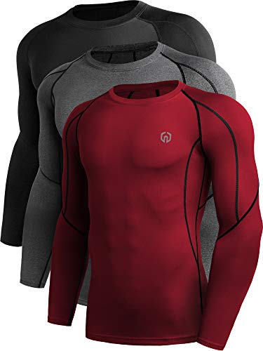 Neleus Men's 3 Pack Compression Workout Long Sleeve Shirts
