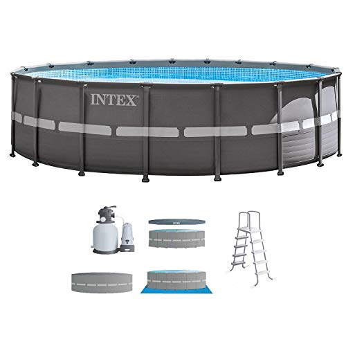 (Intex 18ft X 52in Ultra Frame Pool Set with Sand Filter Pump, Ladder, Ground Cloth & Pool Cover)