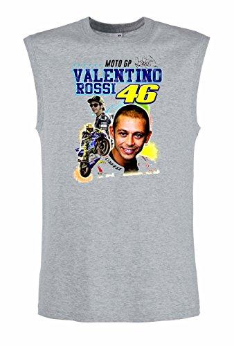 46 The DOCTOR Valentino Rossi Moto Motorbike Motorcycle Fun Top Tank Shirt -2004 -Grau