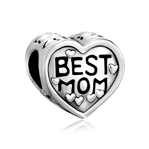(ReisJewelry Mom Charm Heart Love Mothers Day Charms Bead for Bracelets (Silver Plated))