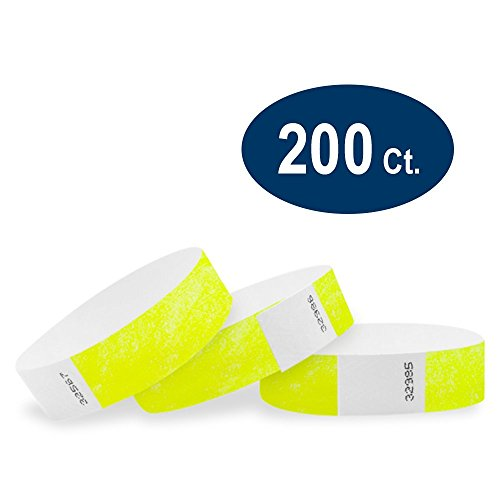 WristCo Neon Yellow 3/4' Tyvek Wristbands - 200 Pack Paper Wristbands For Events