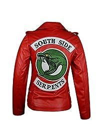 The Jasperz Riverdale Southside Serpent Red Leather Jacket for Women, XXS-3XL