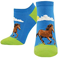 Hay Gurl Horse Blue Design Women's 9-11 Cotton Stretch Ankle Ped Socks