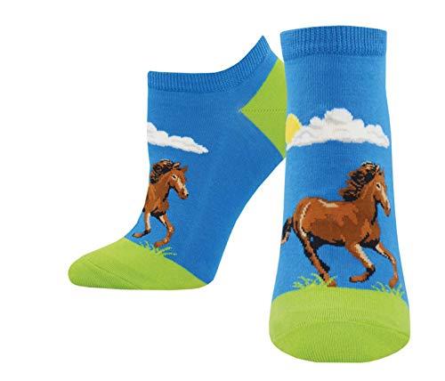 (Hay Gurl Horse Blue Design Women's 9-11 Cotton Stretch Ankle Ped Socks)