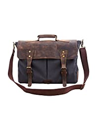 "Crafat 16"" Leather Blue Laptop Canvas Messenger Satchel Briefcase Bag for Men & Women"