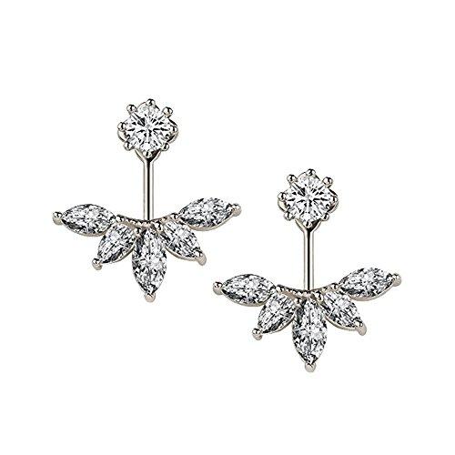 Kissweet Fashion Earings Big Crystal Ear Jackets Leaf Ear Clips Stud Earrings