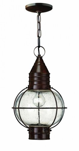 Hinkley 2202SZ Rustic One Light Hanging Lantern from Cape Cod collection in Bronze/Darkfinish,