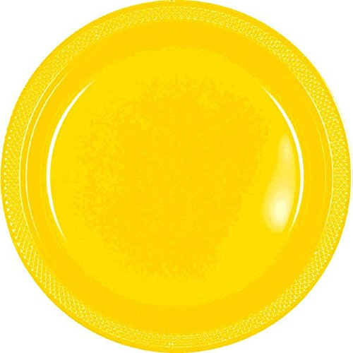Reusable Party Dessert Plates Tableware, Yellow Sunshine, Plastic , 7