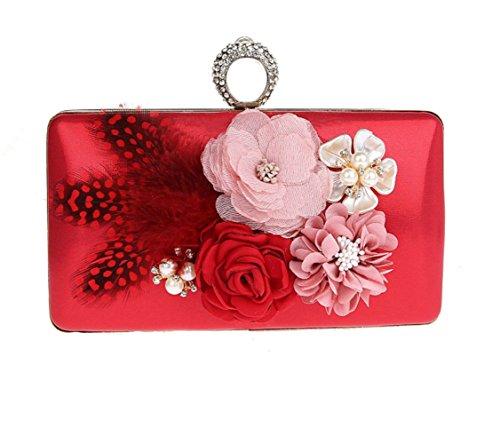 Fleurs à Mariage Sac Dames Femmes Sac Red Pochettes Prom Party WenL Soirée Sac Main Main Nuptiale De à xnAWBWH4