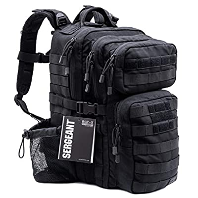 SERGEANT Military Tactical Backpack, 1050D Ballistic Nylon, YKK Zippers, UTX Buckles, Molle. 40L 3-Day, Assault Pack, Bug Out Bag, Rucksack, Daypack, Range, School, Camping, Hiking, Hunting. by SERGEANT