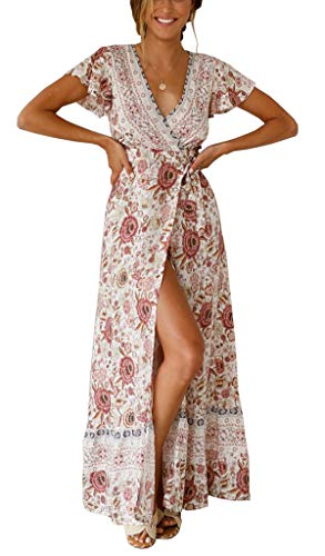 - R.Vivimos Women's Summer Short Sleeve Floral Print Bohemian Beach Waist Tie Wrap Long Flowy Dress with Slit (2XL, White/Pink)