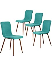 FurnitureR Set of 4 Dining Chairs, Modern Fabric Side Chair with Walnut Legs for Dining Room