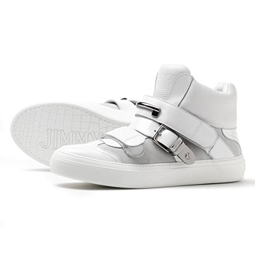 Jimmy-Choo-Barclay-Soft-Calf-Leather-Patent-Leather-Suede-High-Top-Trainer-Size-45-EU-12-US
