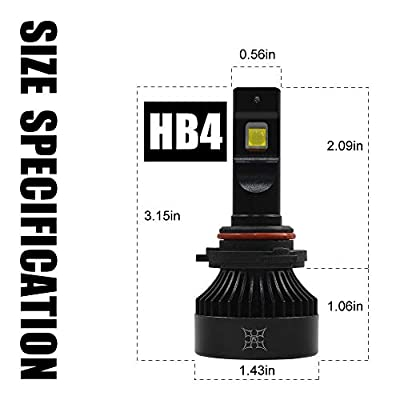 HIKARI 2020, 9006 HB4 LED Headlight Bulbs, 150% Brightness, 100% Extra Night Visibility, TOP XHP50.2 LED 10400lm 6000K Cool White: Automotive