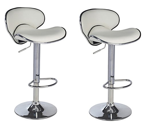 Duhome 2 PCS Synthetic Leather Saddle Seat Adjustable Swivel Bar Stool Kitchen Counter Height Chairs (White)