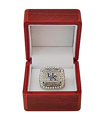 UNIVERSITY OF KENTUCKY (Wildcats) 2012 COLLEGE BASKETBALL NATIONAL CHAMPIONS Rare Collectible High-Quality Replica NCAA Basketball Silver Championship Ring with Cherrywood Display Box