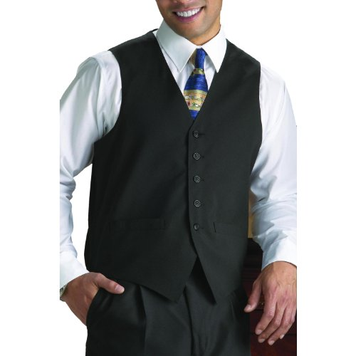 Neil Allyn 100% Polyester Solid Black Wait Staff Vest - X...