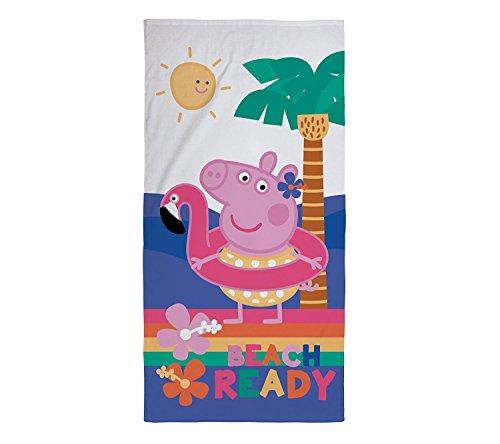 OEKO-TEX Peppa Pig Characters 100% Cotton Beach Towel 70 x 140cm With Bonus XWi Microfiber Fitness Sport Towel (Hooray)
